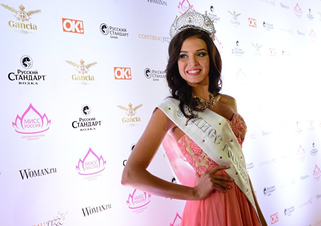 Sofia Nikitchuk (Yekaterinburg), the winner of the Miss Russia 2015 title, at Barvikha Concert Hall
