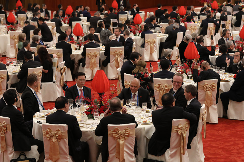 Guests attend a welcome banquet for the Belt and Road Forum at the Great Hall of the People in Beijing on May 14, 2017